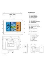 FanJu FJ3378 Digitale wekker Weerstation Binnen Buiten Temperatuur-vochtigheidsmeter Maanfase Weersverwachting USB-oplader
