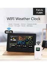 FanJu FJW4 Digitale Wekker Weerstation wifi Binnen Buiten Temperatuur Vochtigheid Klok