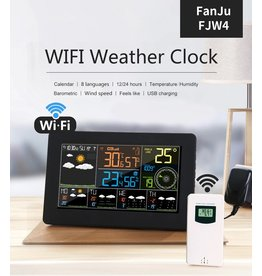 Merkloos FanJu FJW4 Digitale Wekker Weerstation wifi Binnen Buiten Temperatuur Vochtigheid Klok