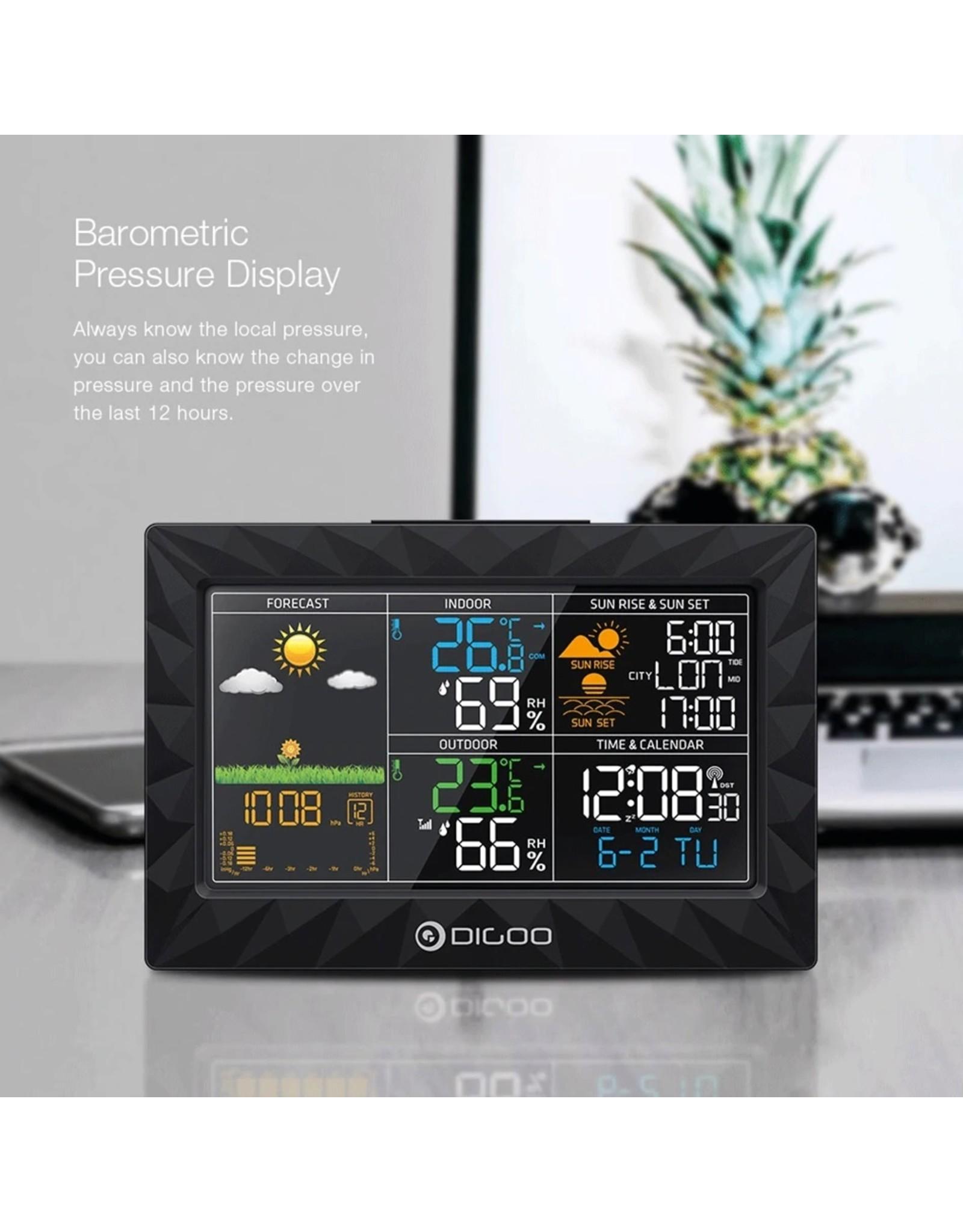 DIGOO DG-TH8988 LCD-kleur binnen Weerstation voor buiten + afstandssensor Thermometer Snooze-klok Zonsopgang Zonsondergangweergave