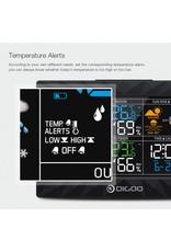 Merkloos DIGOO DG-TH8988 LCD-kleur binnen Weerstation voor buiten + afstandssensor Thermometer Snooze-klok Zonsopgang Zonsondergangweergave