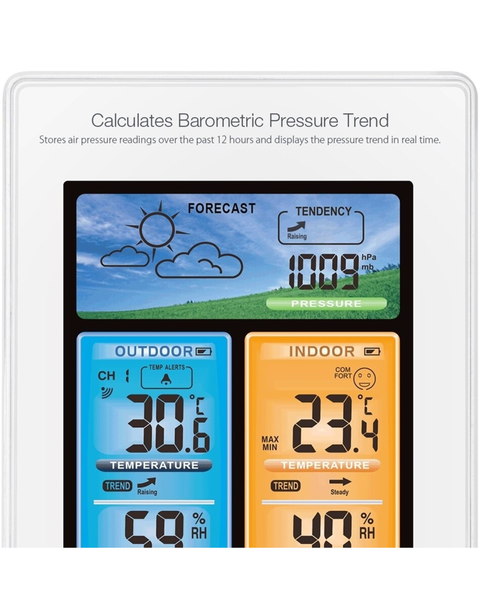 DIGOO DG-EX003 - Weersverwachting - Luchtdruk - Weerstation - Temperatuursensor - Binnen en Buitentemperatuur - Vochtigheid - Dagelijkse wekker