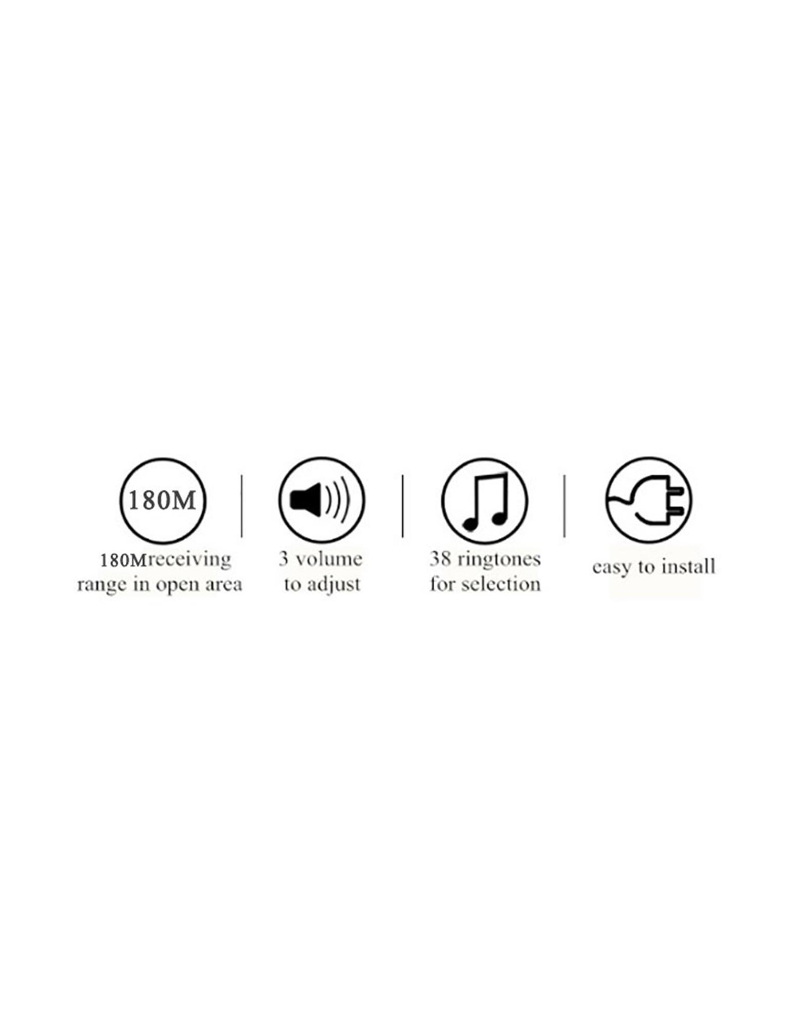 CACAZI Deurbel - Waterdicht - 300M Afstandsbediening - Draadloze Deurbel - 38 Melodieën