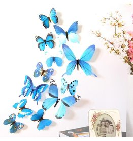 3D DIY Muursticker Stickers Vlinder Home Decor Kamer Decoraties Nieuw - Blauw