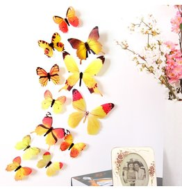 3D DIY Muursticker Stickers Vlinder Home Decor Kamer Decoraties Nieuw - Geel