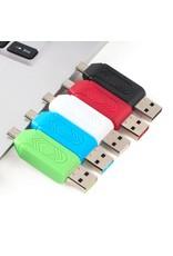 OTG Micro USB kaartlezer voor PC en Mobiele telefoon – Diverse Kleuren