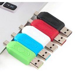 Merkloos OTG Micro USB kaartlezer voor PC en Mobiele telefoon