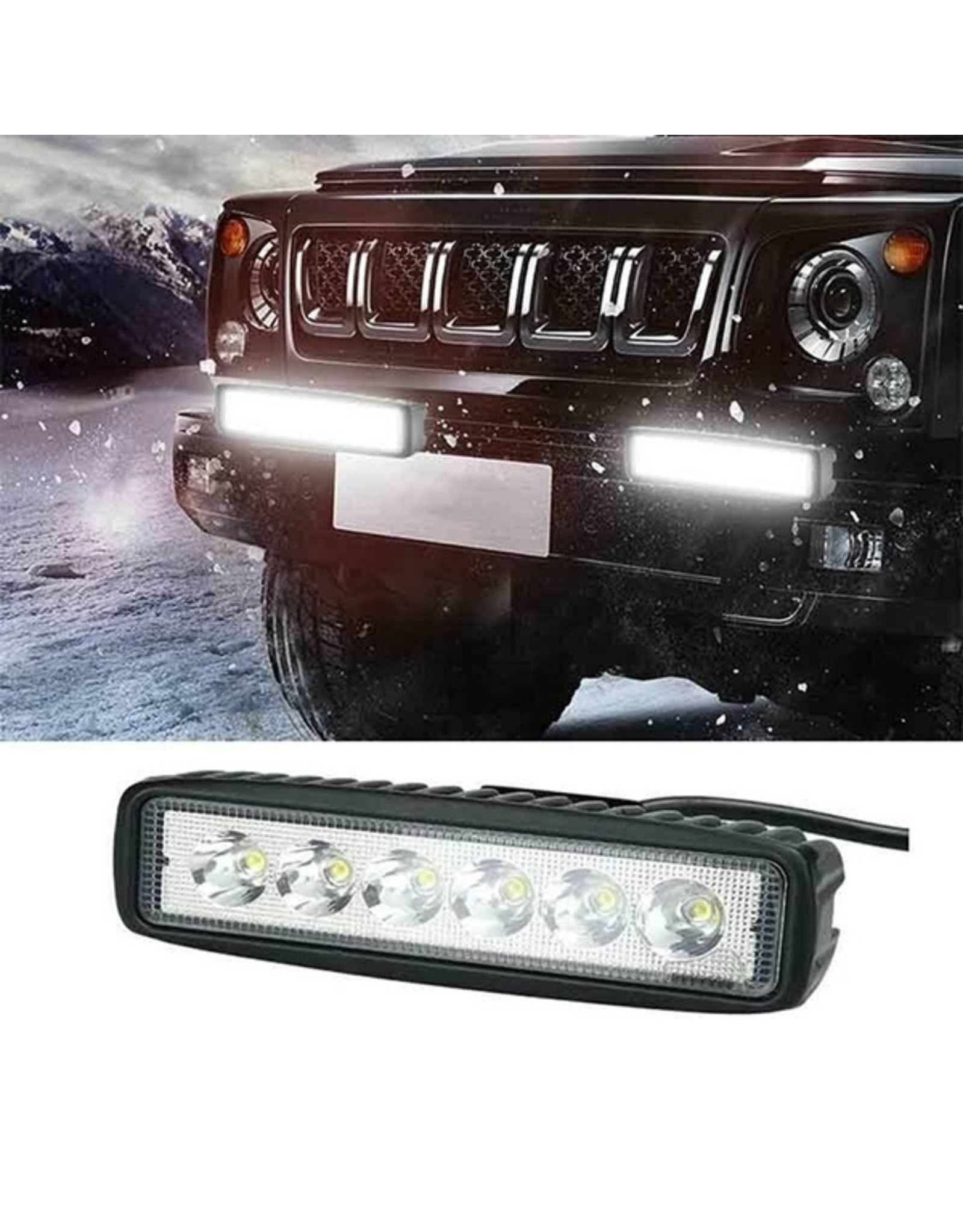 LED SPOT - 6 x 3 watt - front light - WIT - OFF-ROAD