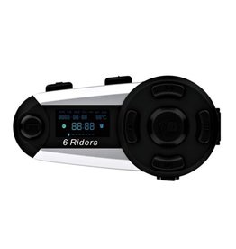 V6 Plus Bluetooth Motorhelm Intercom Headset Interphone 1200M 6 Rider FM
