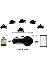 Merkloos V6 Plus Bluetooth Motorhelm Intercom Headset Interphone 1200M 6 Rider FM