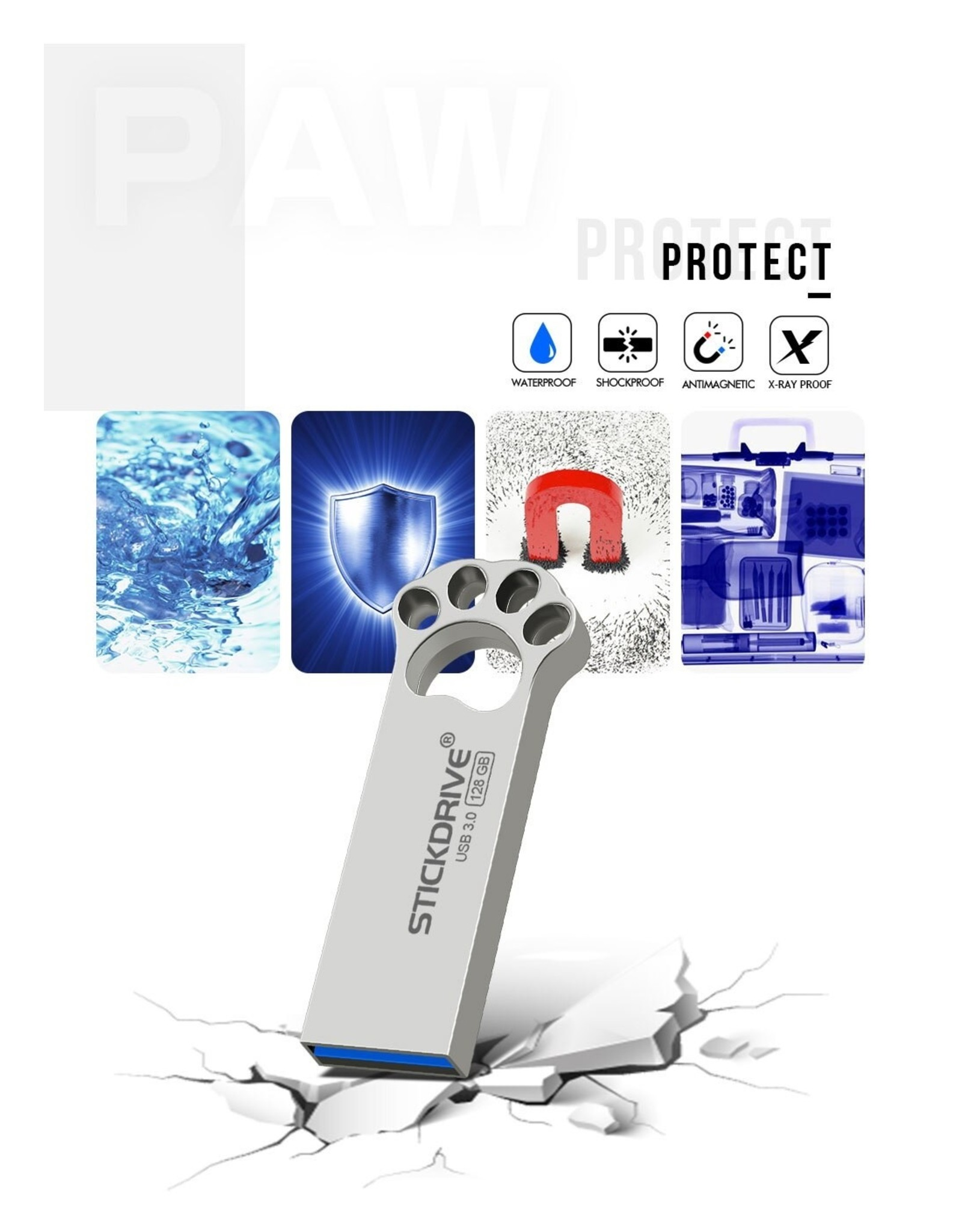 Usb flash drive 64 gb metalen USB 3.0 zilveren pendrive - grijs