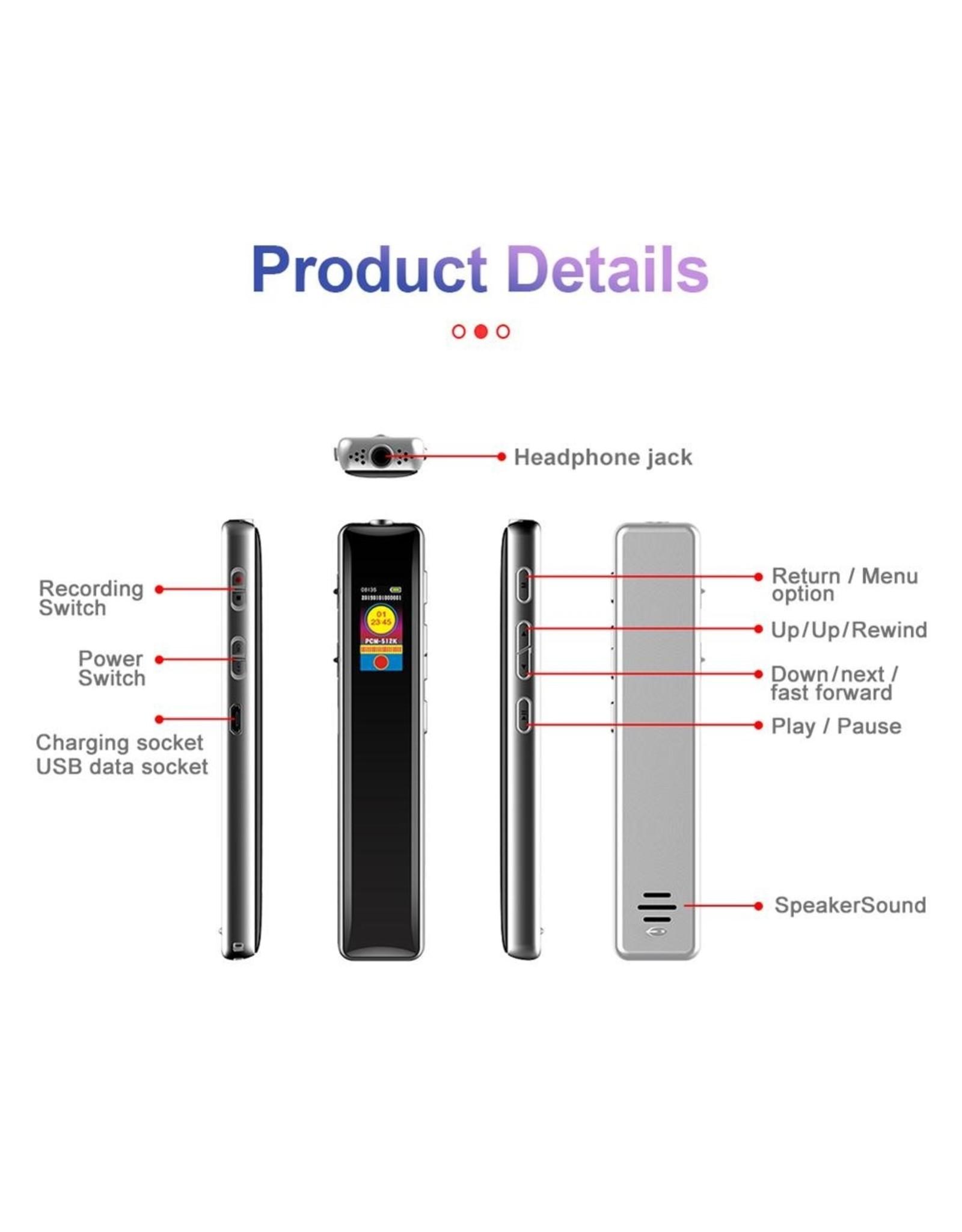 Premium Digitale Recorder - Premium Voice Recorder - Multifunctionele Voice Recorder - Dictafoon 4 GB - Audio Memo Recorder Met USB - Spraak Recorder - Sound – Geluid Recorder - Opname Apparaat - Met MP3 Speler Functie