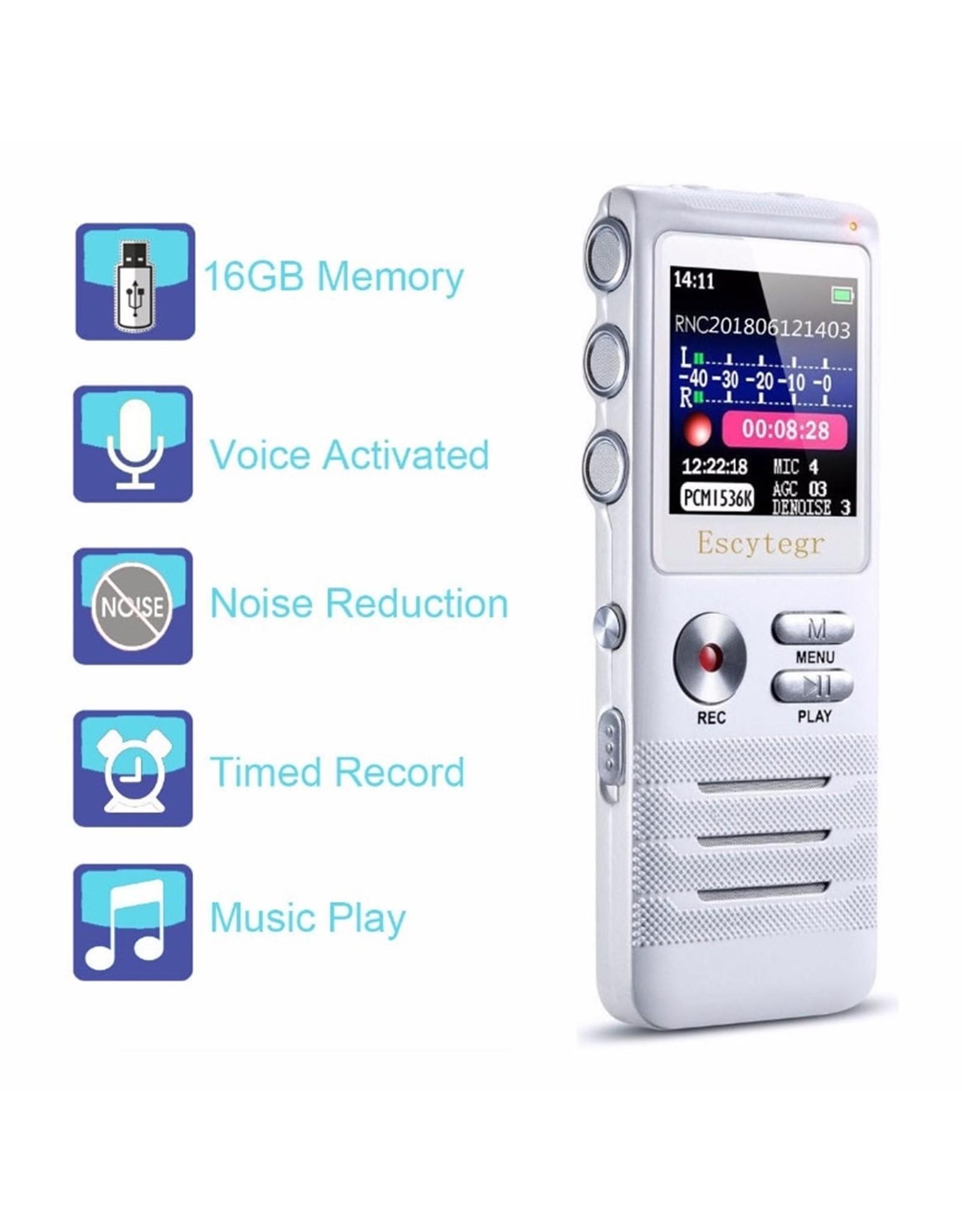 Premium Digitale Recorder - Premium Voice Recorder - Multifunctionele Voice Recorder - Dictafoon 16 GB - Audio Memo Recorder Met USB - Spraak Recorder - Sound – Geluid Recorder - Opname Apparaat - Met MP3 Speler Functie – 16GB
