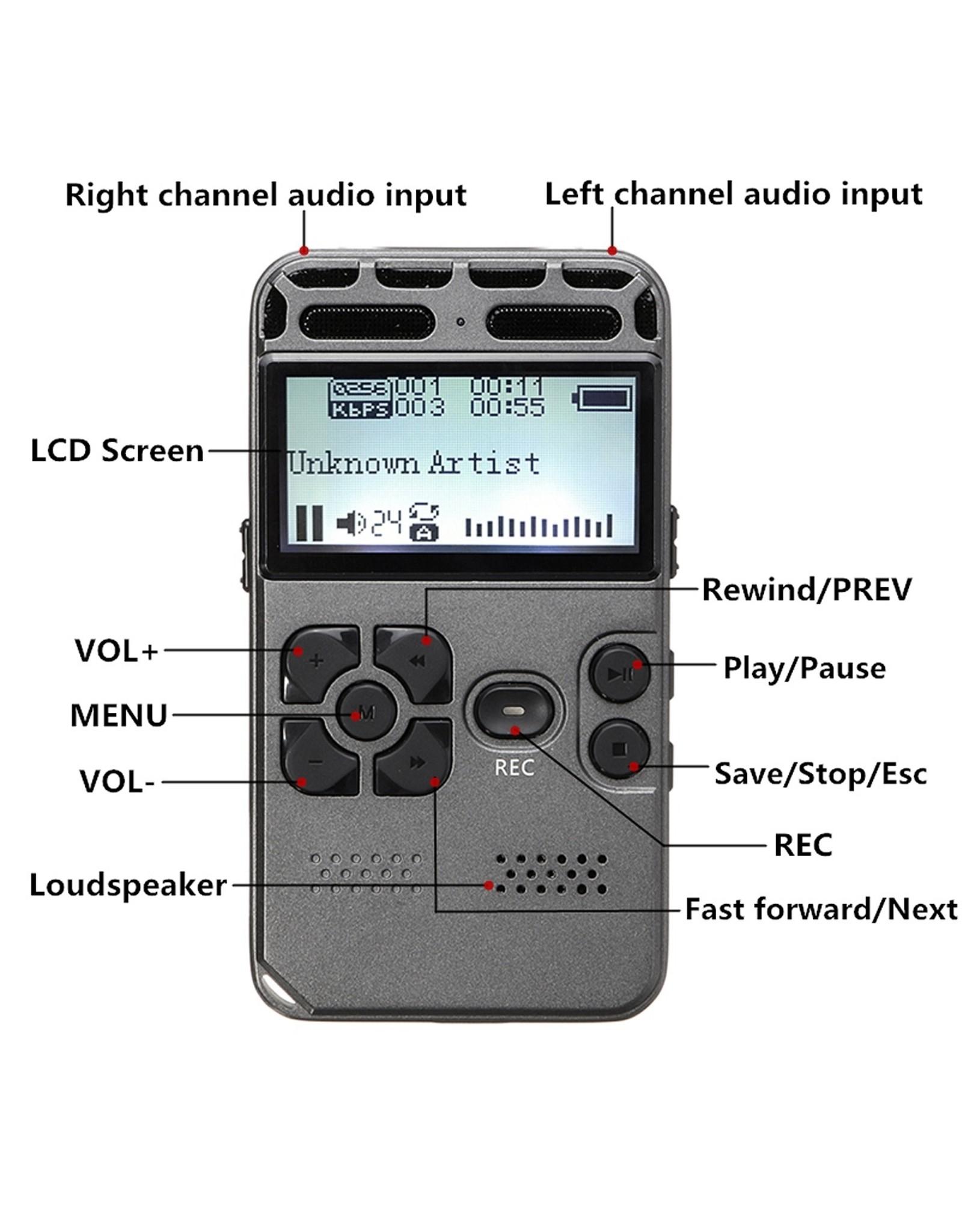 8 GB oplaadbare LCD Digitale Audio Geluid Dictafoon met Voice Recorder