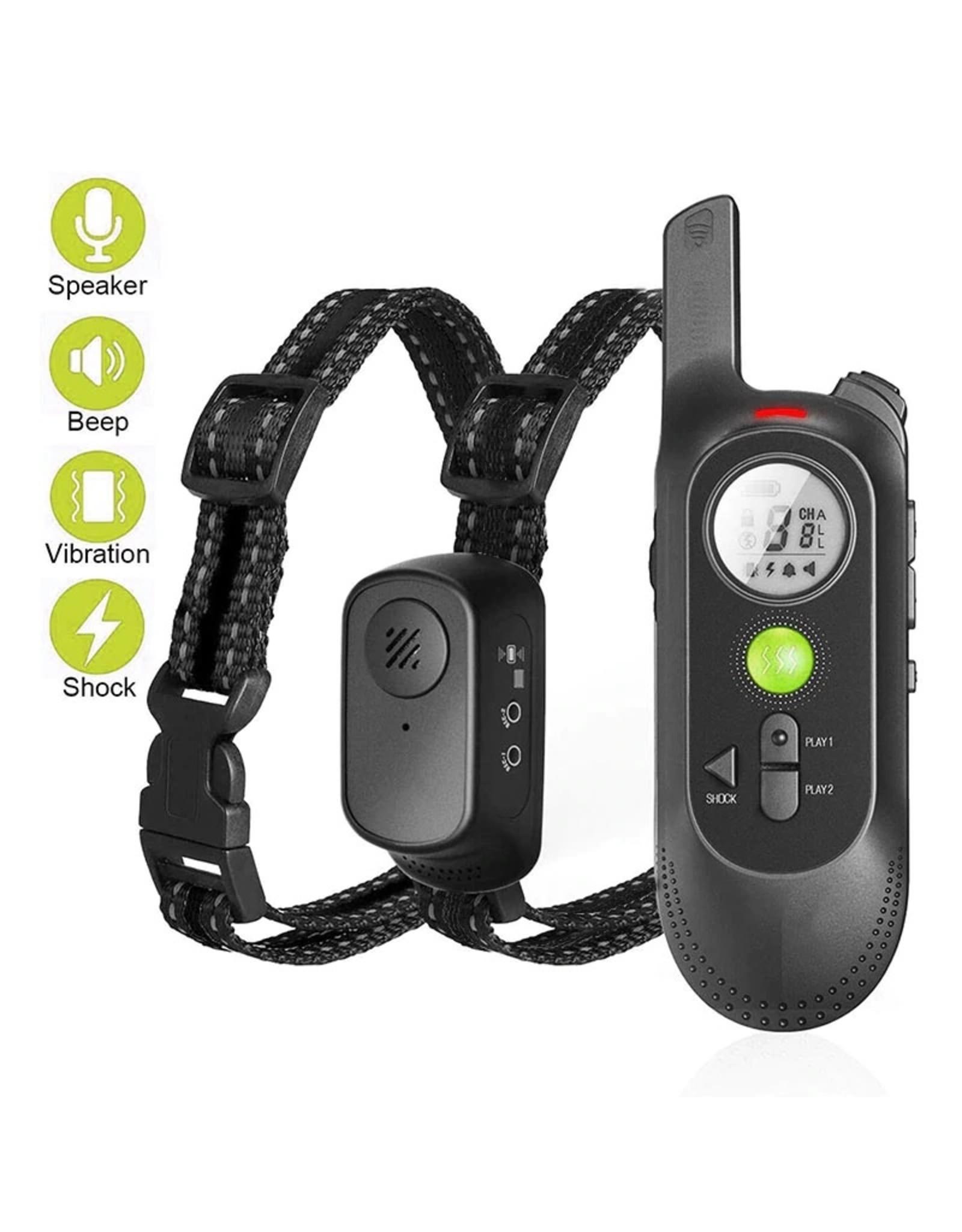 Merkloos Trainingshalsband voor honden met spraakopdracht, zoemer, vibratie- en vibratiemodus, oplaadbare waterdichte schokabsorberende halsband voor honden, met afstandsbediening van 300meter bereik