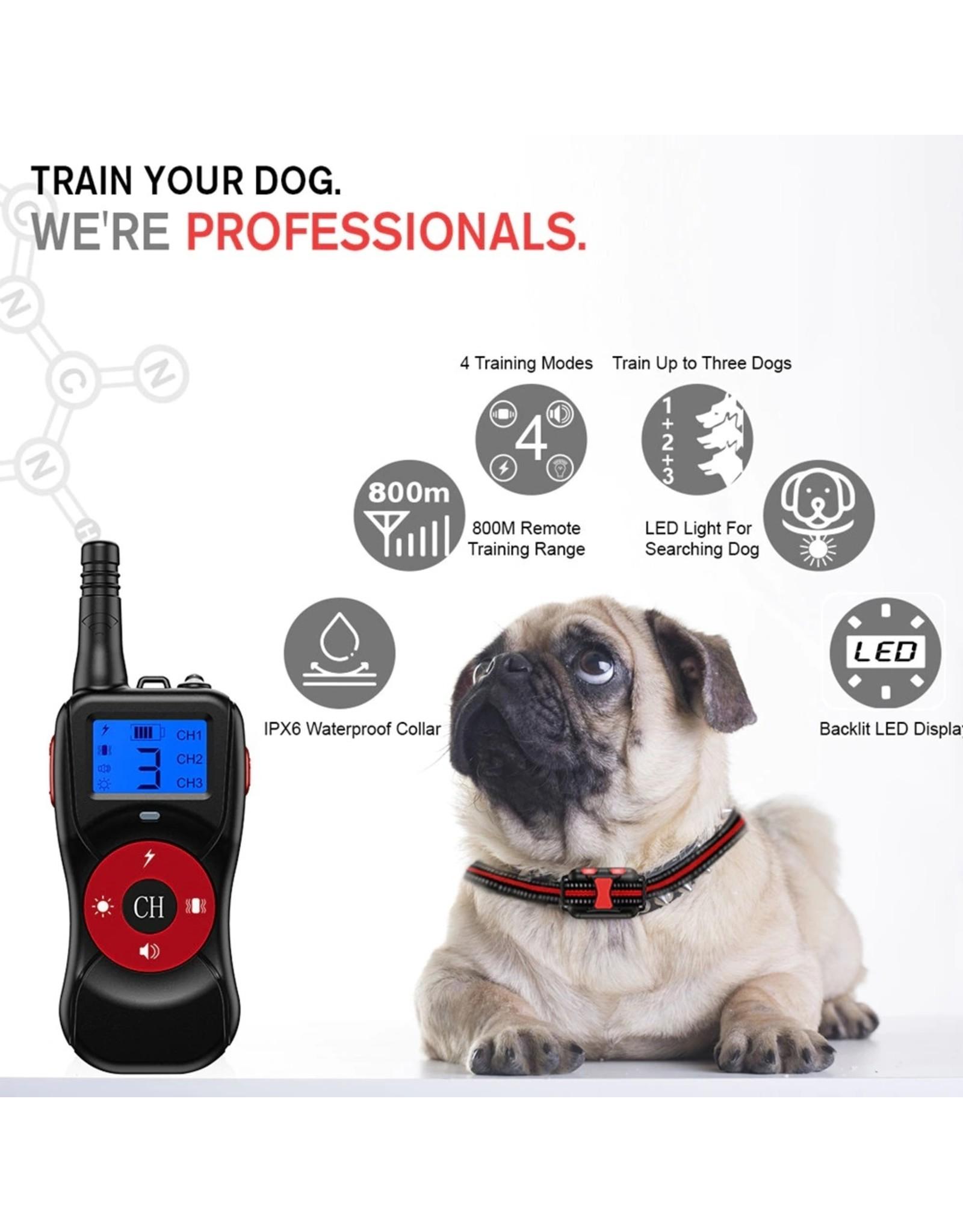 Trainingshalsband - 800M Hondentrainingshalsband - Anti-blafapparaat 2600ft Automatische Hondenschorsstop - Waterdichte USB Oplaadbare bediening