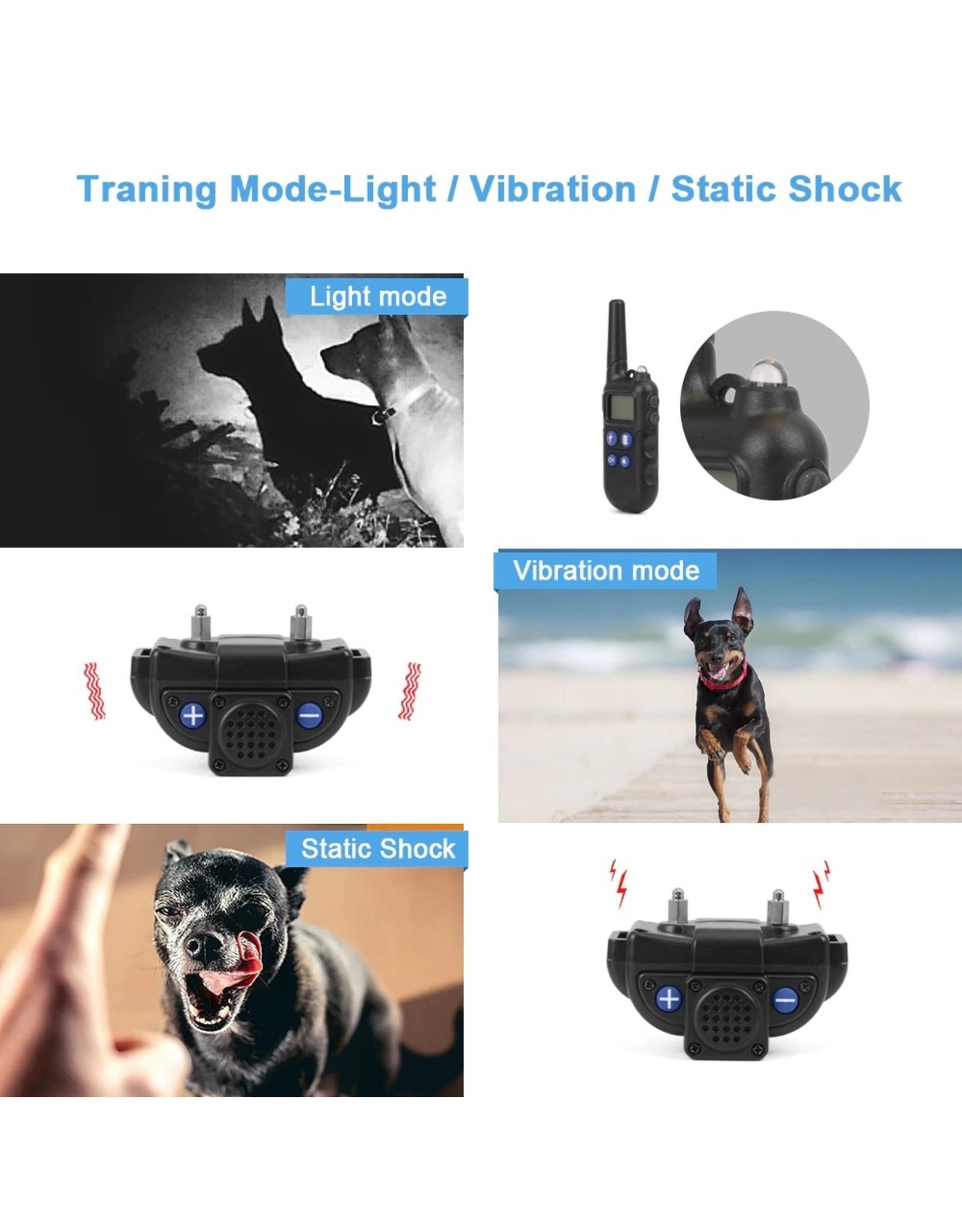 2000M hondentrainingshalsband met walkietalkie - Oplaadbare halsband voor honden - Halsband Modi Pieptoon Trillingen Schok - waterdichte trainingshalsband