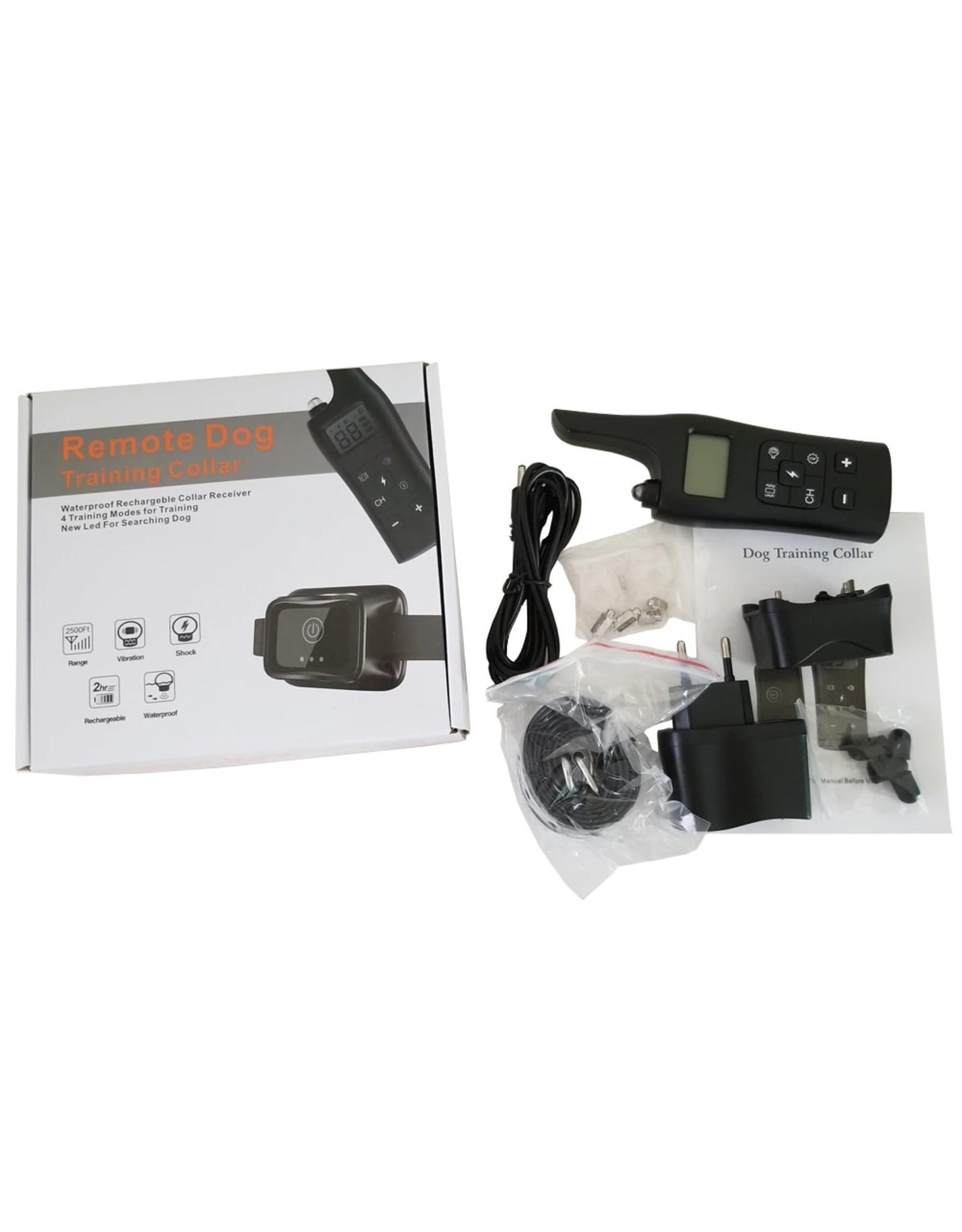 Oplaadbare hondentrainingshalsband - IP67 waterdichte stop-blafhalsband voor kleine middelgrote grote honden met licht LCD-scherm