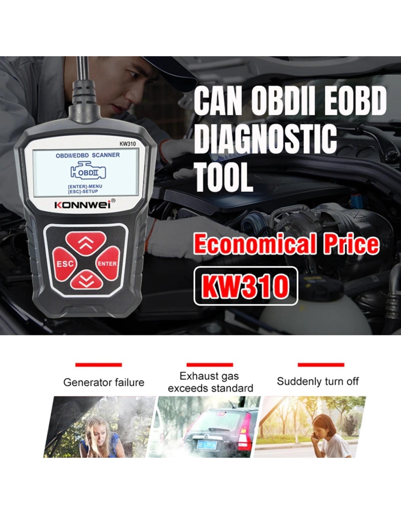 KONNWEI KW310 OBD2 Scanner Professionele Automotive Code Reader Volledige OBD2 Scanner Multi-talen Auto Diagnostisch Scan Tool - Zwart of Rood