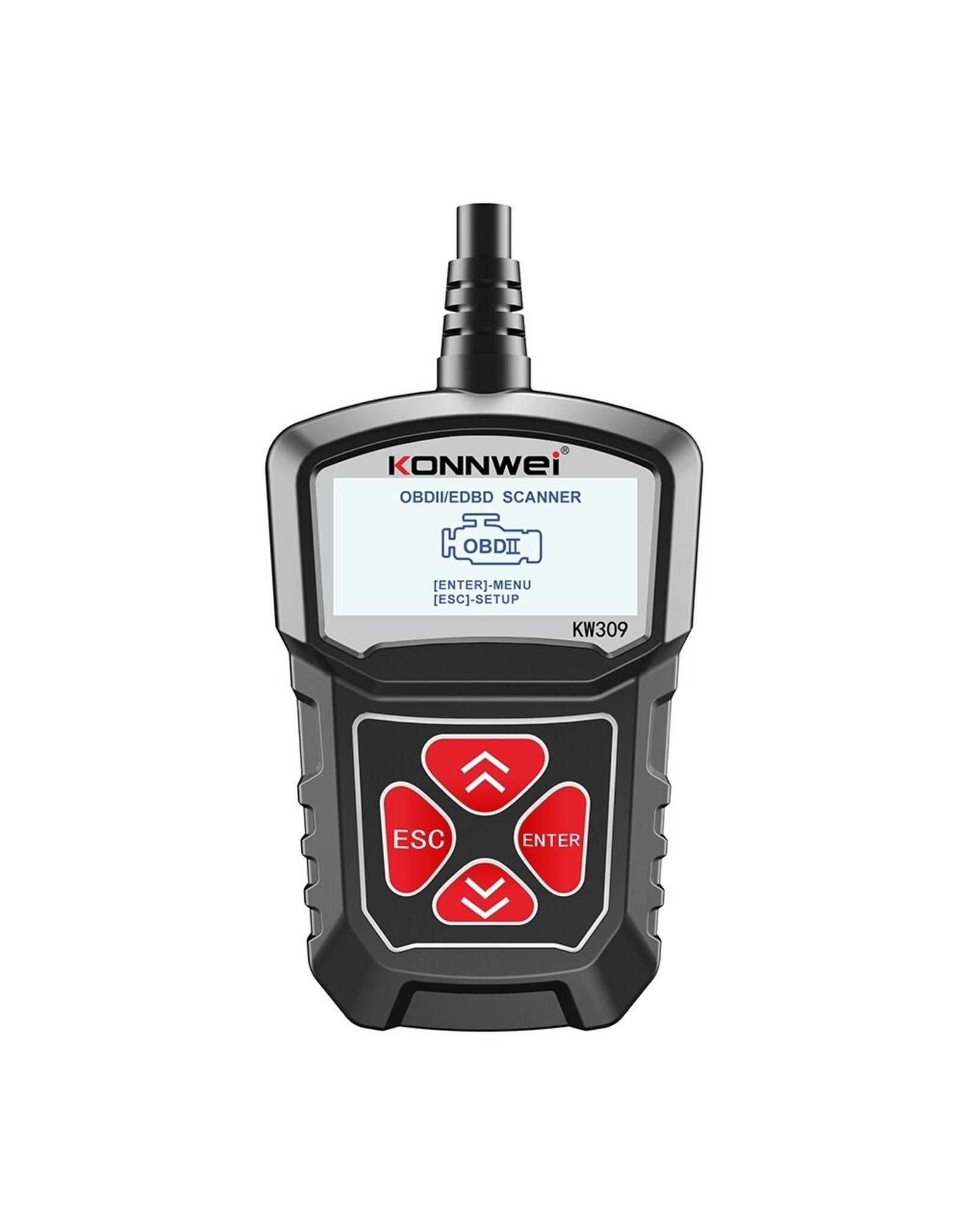 KONNWEI KW309 OBD2 Auto Diagnostische Scanner Tool OBDII Engine Fout Code Reader Rood/Zwart