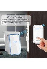 CACAZI Waterdichte Draadloze Deurbel 300M Afstandsbediening Intelligente LED Licht Home Deurbel