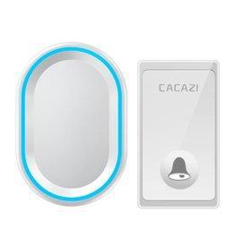 CACAZI Geen batterij nodig Draadloze deurbel 58 Melodieën Waterdichte deurbel Intelligente LED Ring Bell