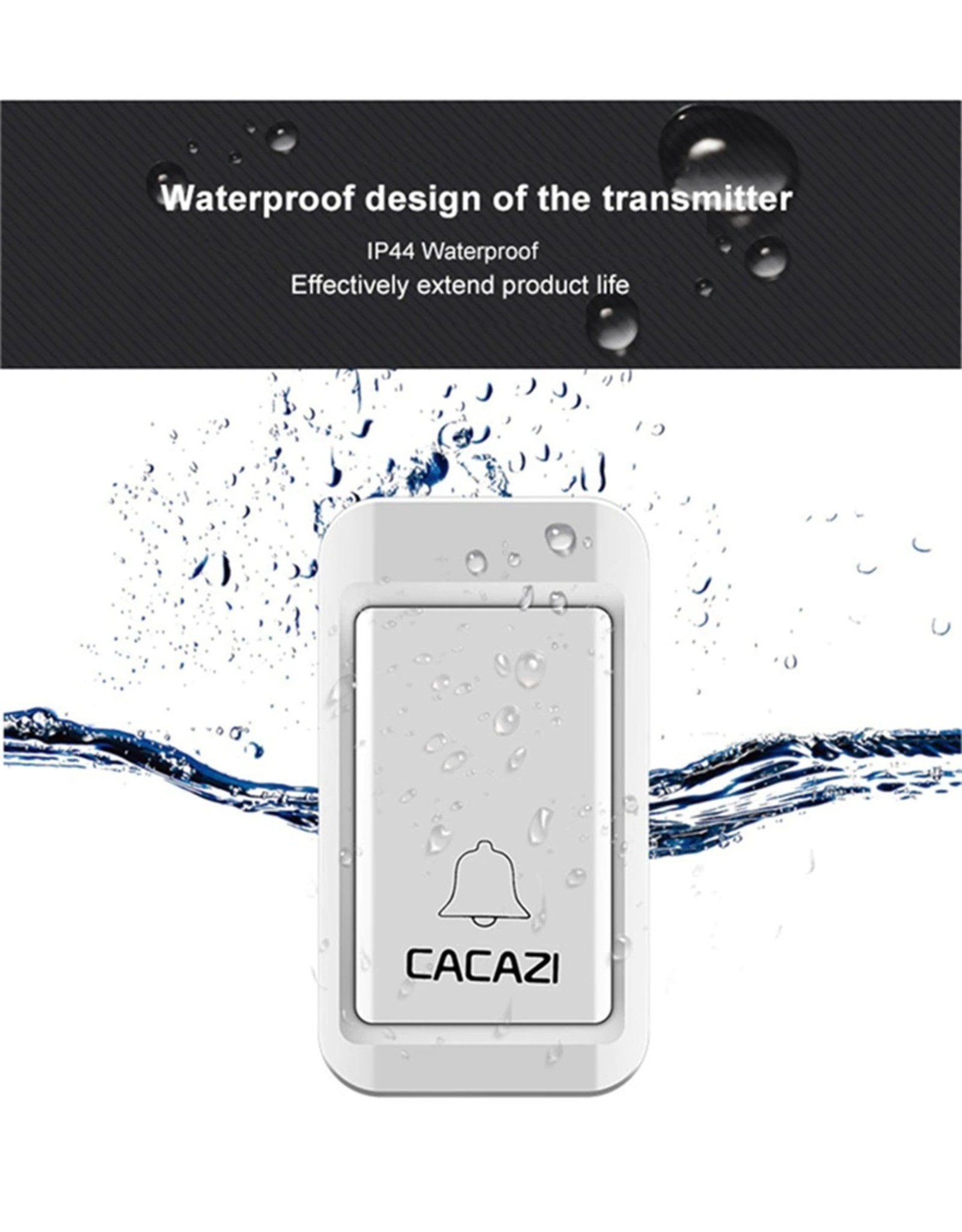CACAZI Draadloze deurbel Zelf aangedreven Waterdichte LED-lamp Geen batterij Home Draadloze bel