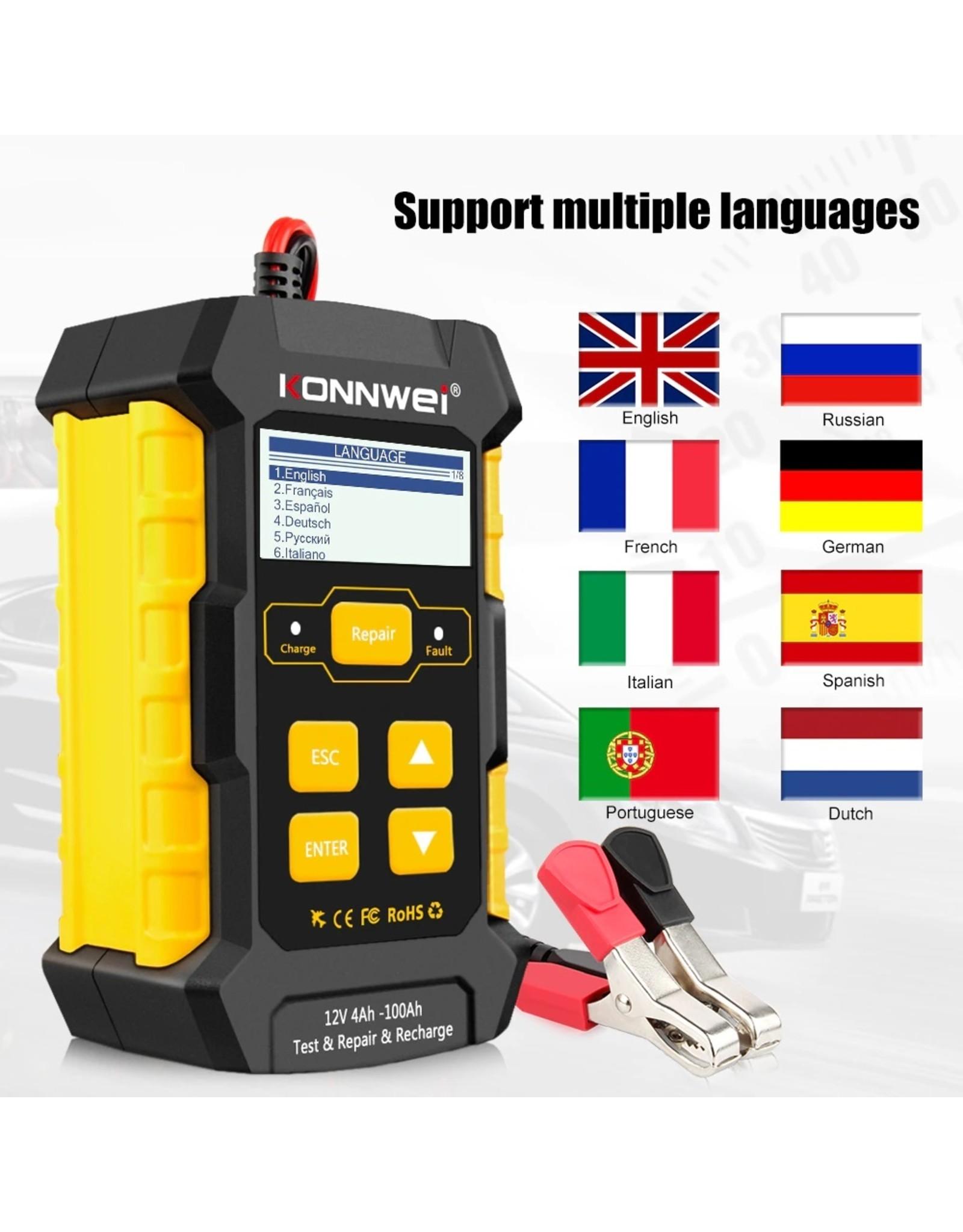 KONNWEI KW510 Auto Batterij Analyzer met reparatie- en oplaad- en testfunctie
