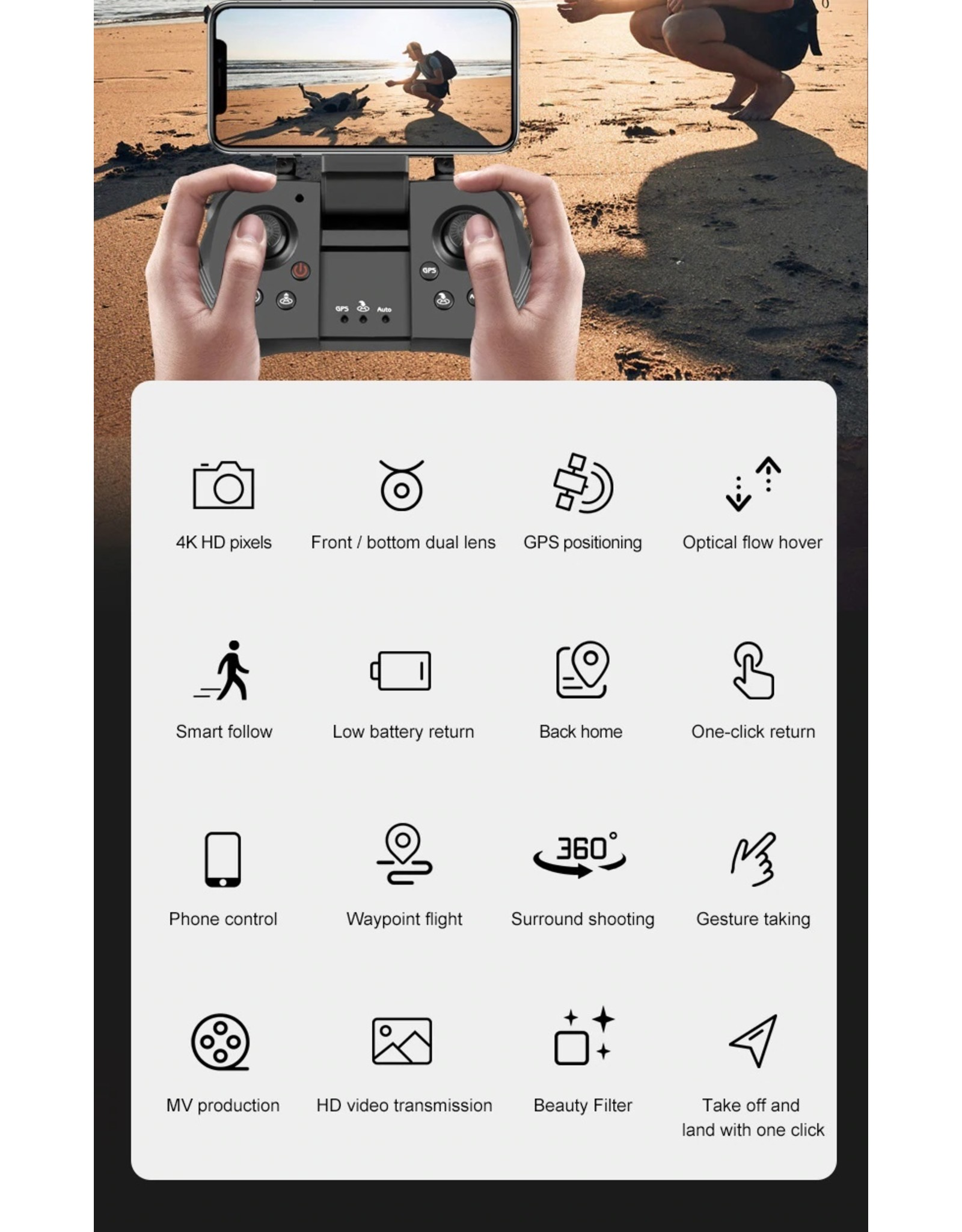 Drone GPS 4K 5G WiFi live video FPV 4K/1080P HD Groothoekcamera Opvouwbaar Hoogte houden Duurzaam RC Drone