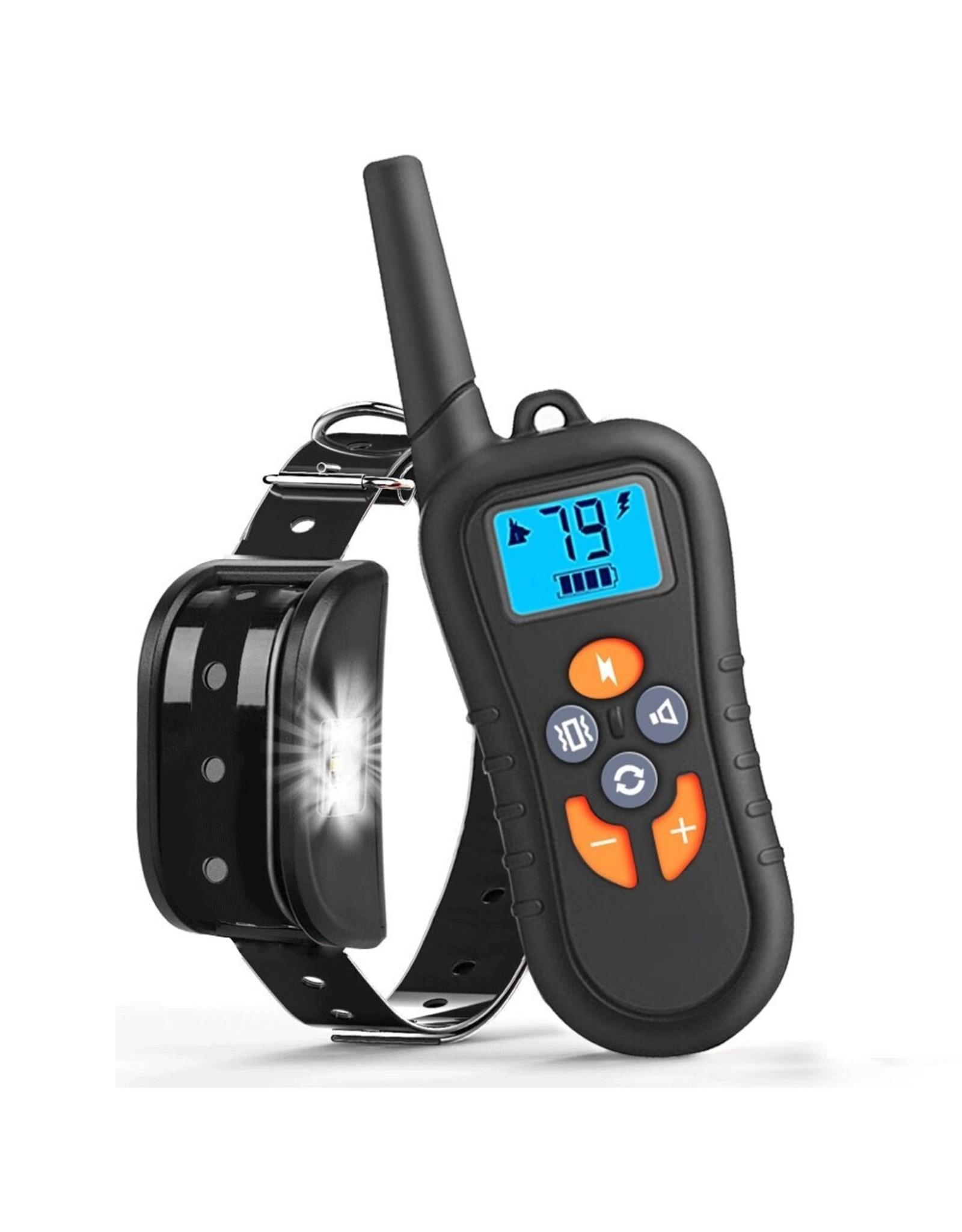 Hondentrainingshalsband voor 1 hond, Waterdicht Oplaadbaar Bereik 1400 Ft Shock Halsband met Tracking Light Piep Trillingen Schokmodi