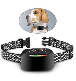 Merkloos De nieuwe anti-blafhalsband 3 effectieve trainingsmodi Oplaadbare, vibrerende waterdichte halsband voor huisdieren Geschikt voor alle honden