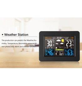 Merkloos FanJu FJ3365 Weerstation – Draadloos - Binnen Buiten Sensor - Thermometer Hygrometer Digitale Wekker Barometer Voorspelling
