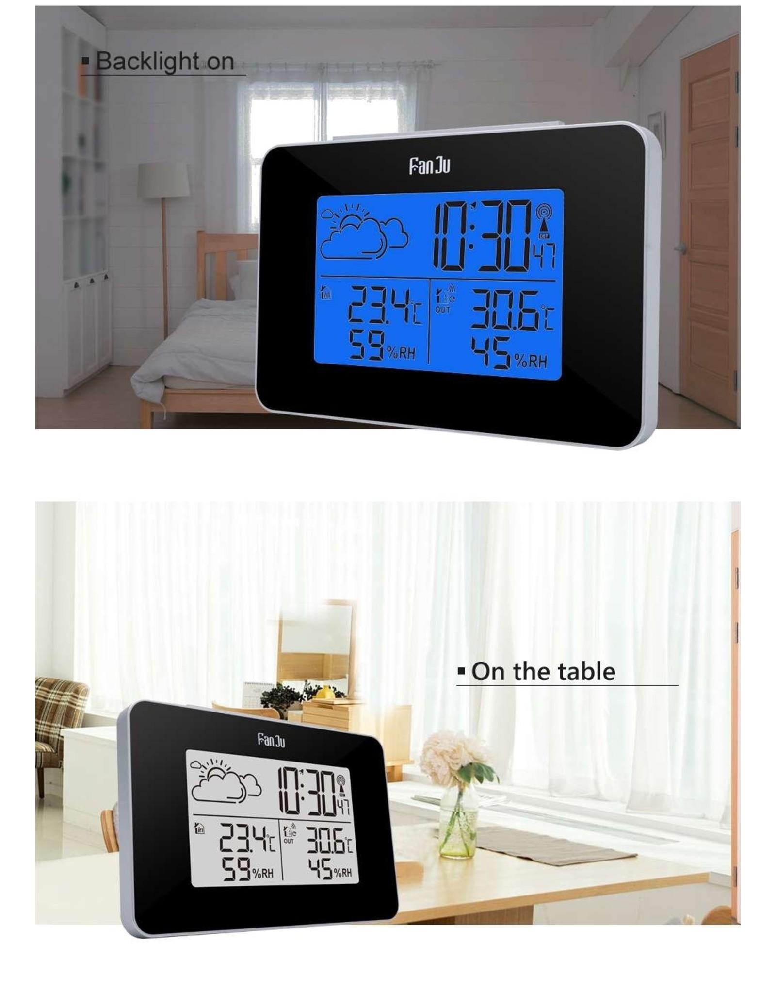FanJu FJ3364 Digitale wekker Weerstation Draadloze sensor Hygrometer Thermometer