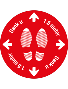 Virupa Vloersticker rond rood '1,5 meter'