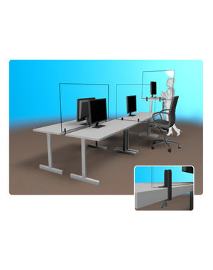 Virupa Scheidingswand bureau plexiglas op bureau (tafelklem)