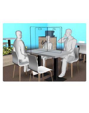 Virupa Hygiëne tafelscherm horeca plexiglas met oversteek