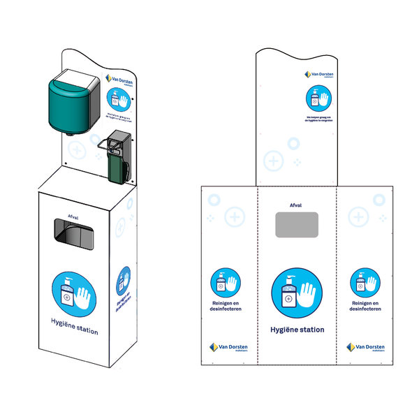 Virupa Hygiëne station compleet elleboogdispenser - Met eigen logo