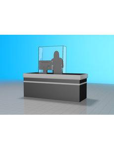 Virupa Hygiëne scherm plexiglas staand gebogen zijkanten