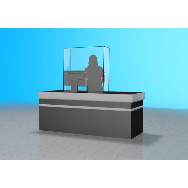 Virupa Hygiëne scherm staand plexiglas gebogen zijkanten