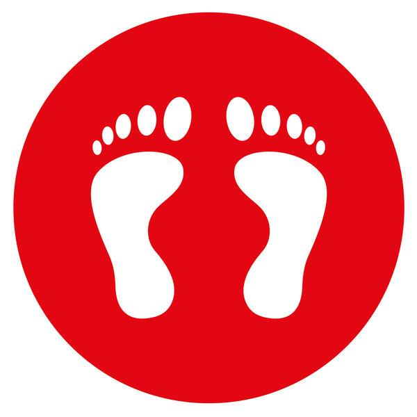 Virupa Vloersticker rond rood voetjes