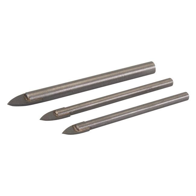 Silverline 3-delige tegels en glas boorkoppen set 5, 6 en 8 mm