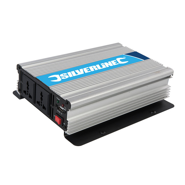 Silverline 12 V omvormer 1000 W (2 x 500 W)