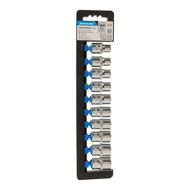 """Silverline 6-kantige 1/2"""" doppen set met metrische aandrijving, 10-delig 10 - 19 mm"""