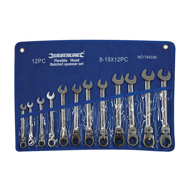 Silverline 12-delige flexibele steek-ringratelsleutel set 8 - 19 mm