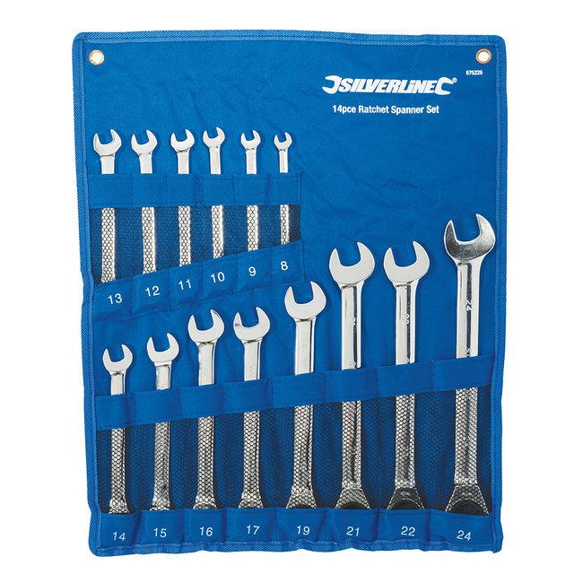 Silverline 14-delige vaste steek-ringratelsleutel set 8 - 24 mm