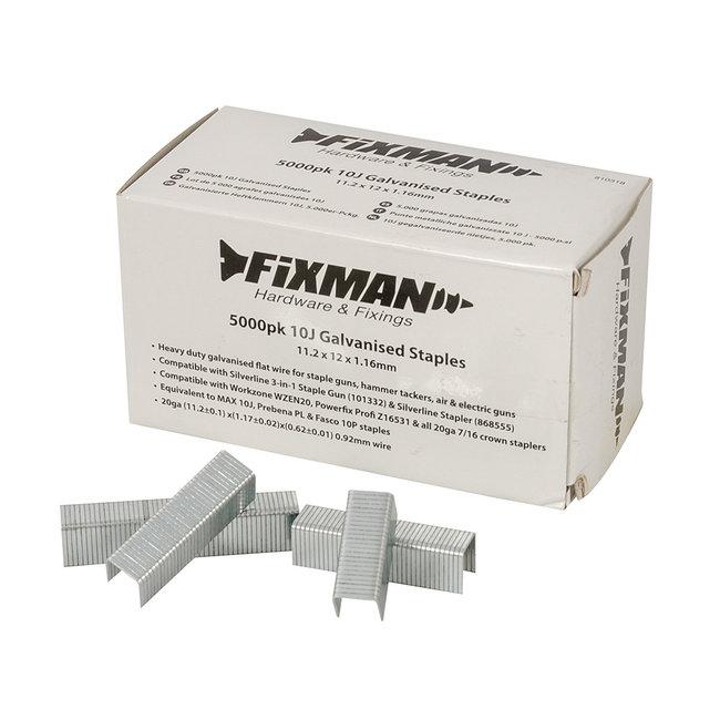 Fixman 10J gegalvaniseerde nietjes, 5.000 pak 11,2 x 12 x 1,17 mm