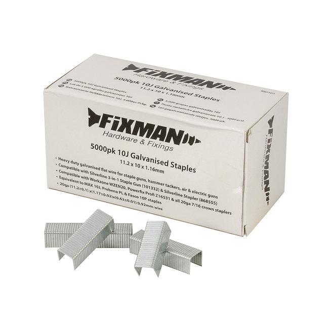 Fixman 10J gegalvaniseerde nietjes, 5000 pak 11,2 x 10 x 1,17 mm