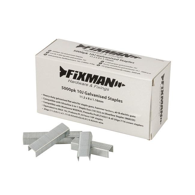 Fixman 10 J gegalviniseerde nietjes, 5000 pak 11,2 x 8 x 1,17 mm