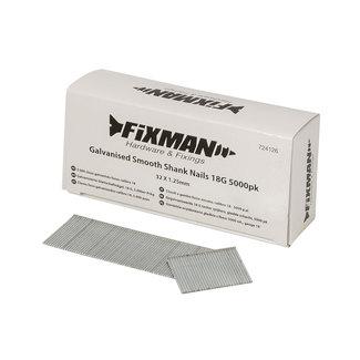 Fixman Gegalvaniseerde 18 G tacker spijkers, gladde schacht, 5000 pak 32 x 1,25 mm