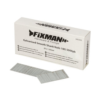 Fixman Gegalvaniseerde 18 G tacker spijkers, gladde schacht, 5000 pak 25 x 1,25 mm